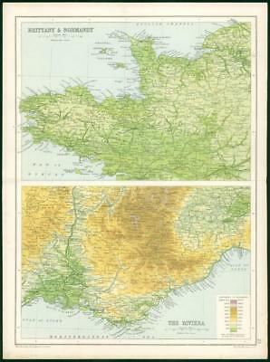 1912 Original Colour Antique Map  - EUROPE BRITTANY NORMANDY RIVIERA    (53)