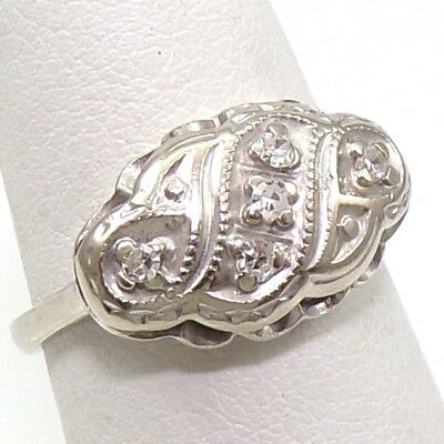 VTG Art Deco Antique 14K White Gold Natural 0.10ctw Diamond Ring Size 6.5  LFA2