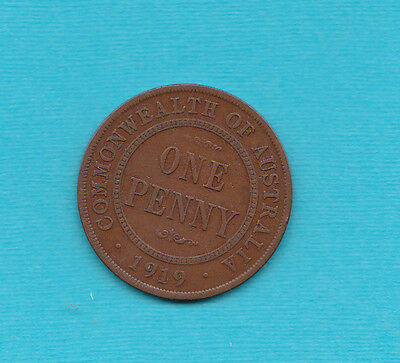 Australia 1919 Plain Penny Fine Condition