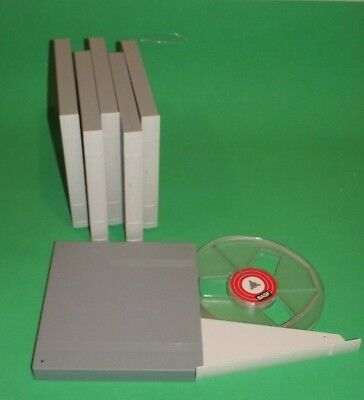 "VINTAGE 6 PCS  BASF 7"" PLASTIC AUDIO REEL STORAGE CASES PLASTIC TAKE-UP nos"