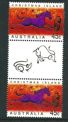 2002 Christmas Island - Year of the Horse Gutter Pair MUH