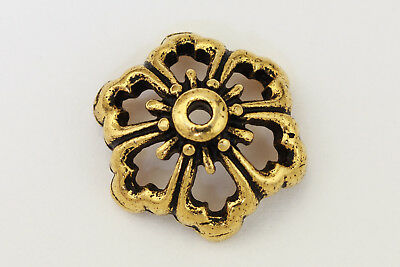 13mm Antique Gold TierraCast Pewter Open Poppy Bead Cap (20 Pcs) #CK711