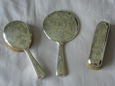 Antique/art Deco Sterling With Marks & Numbers 3-Pieces Vanity Set!!!