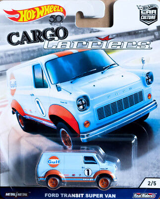 Ford Transit Super Van Gulf Cargo Carriers 2/5 Car Culture 1:64 Hot Wheels FLC13