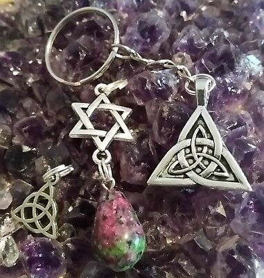 WOW - CELTIC KNOT PACK - 3 x PIECES WITH SILVER PLATED CHARMS & RUBY ZOISITE