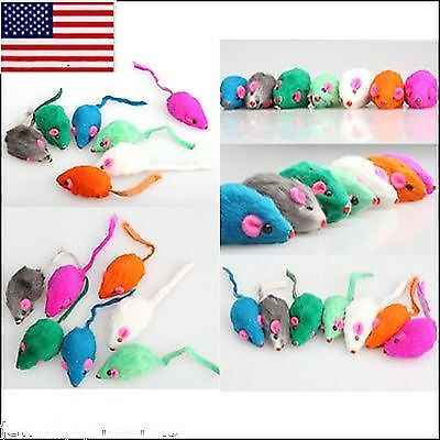 US 10pcs/set Pet  Rabbit Fur Toys False Mouse Kitten Cat Mini Funny Playing Toys