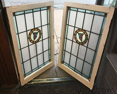 "Pair of Antique 1920's Chicago Stained Leaded Glass Windows 37"" x 24"""