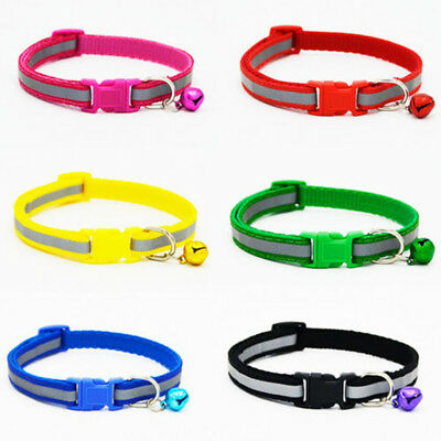 Pet Reflective Cat Collar Safety Buckle Small Dog Pet Puppy Cat Collar with Bell