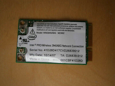 WLAN Steckkarte Mini PCI Express Intel 3945 ABG 802.11g 54 Mbit/s 2,4+5Ghz