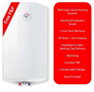 Wall Hung Unvented Hot Water Heater 3kW 100 Litre 100L Electric Water Heater