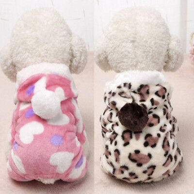 Winter Warm Pet Dog Puppy Cat Kitten Clothes Hooded Jumpsuit Pajamas Outwear