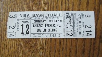 1961 CHICAGO PACKERS vs Boston Celtics NBA Basketball TICKET STUB Bulls RARE!!!