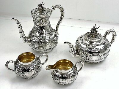 Magnificent Chinese SILVER TEA & COFFEE SERVICE, 1870 WO SHING Dragons & clouds