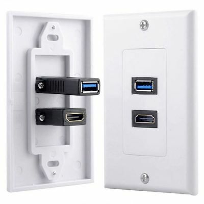 Black Single 1 vitesses Brush Wall Outlet Cable Entry plate Tidy Mount Wallplate