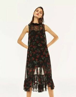 ZARA Black & Red Floral Frill Lace Midi Dress S Sheer High Neck Ruffle Witchy