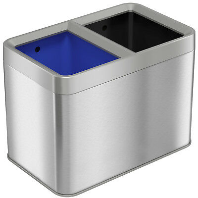 Dual Compartment Slim Open Top Waste Bin for Trash Can & Recycle Container