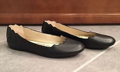 dfdb5a24e Sam Edelman Finnegan Women s Black Scalloped Leather Ballet Flats Size 7.5M
