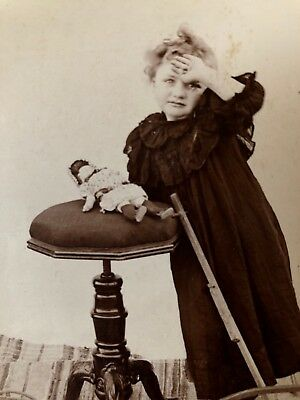 Antique Cabinet Photo Gorgeous Girl Doll & Toy Wagon Circa 1890