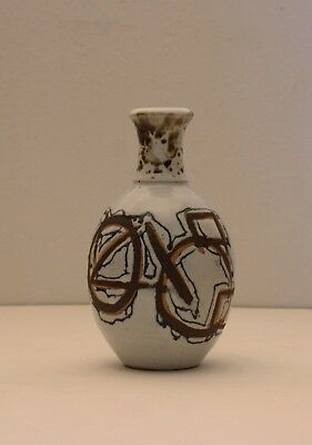 1950s Vintage ABSTRACT Studio Art Pottery SIGNED Bottle Vase MID CENTURY MODERN