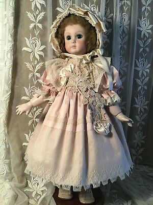"""French Doll Dress for 20"""" Antique Lace Victorian Style - Silk ~ Pale Pink"""