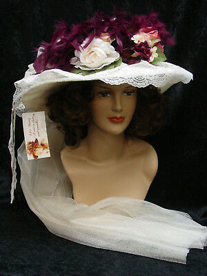 b574310217428 Edwardian Victorian Elsie Massey Old West style Hat off White and Burgundy