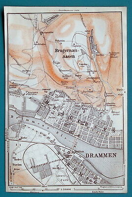 "NORWAY Drammen City Plan - 1912 Baedeker Map 4"" x 6"" (10 x 15 cm)"