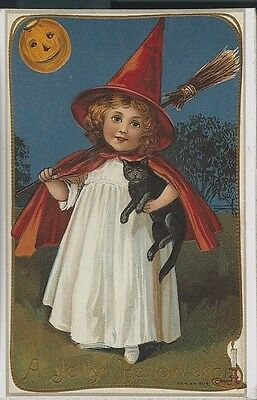 Halloween A Jolly Halloween Young Witch W/ Black Cat  Repro (H78)