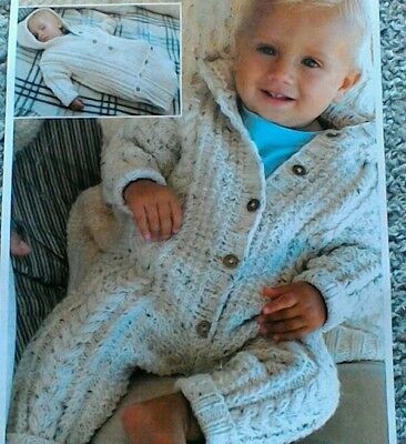 213c7055f KNITTING PATTERN BABY All-in-one Suit Hat   Hooded Jacket Aran King ...