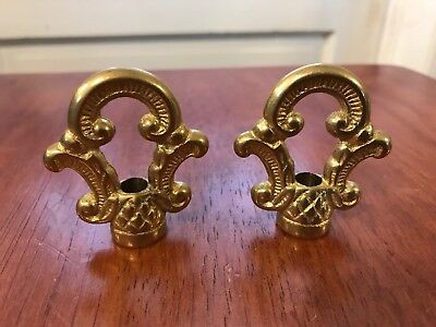 Pair of Solid Cast Brass Traditional Fancy Ornate Lamp Finials
