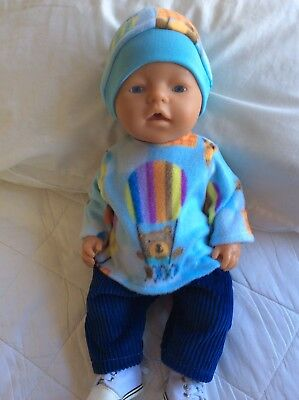 """Doll Clothes to fit 17"""" Baby Born Boy doll ~ 3 Piece - Blue / Hot Air Balloons"""