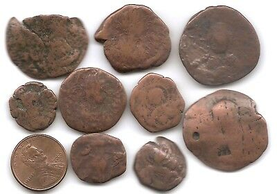 Lot of 9 Unidentified Byzantine Ancient Bronze Coins