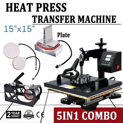 "5in1 15""x15"" Combo T-Shirt Heat Press Transfer Machine Sublimation Swing Away"