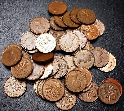 Lot of 50x Canada Small Cents Pennies - Dates: 1956 & 1957