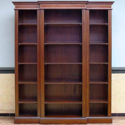MAHAGONI BÜCHERSCHRANK 3-tlg. WOHNREGAL - BIG OPEN BOOKCASE MASSIVHOLZ REGALWAND