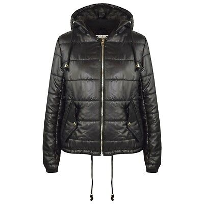 Kids Girls Black Bella High Shine Hooded Padded Quilted Puffer Jackets 5-13 Year