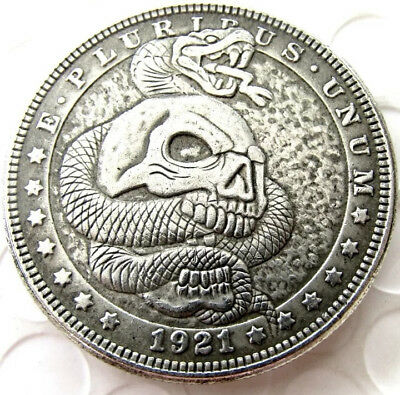 New Hobo Nickel 1921 Morgan Dollar Snake Viper Skull Skeleton Casted Coin