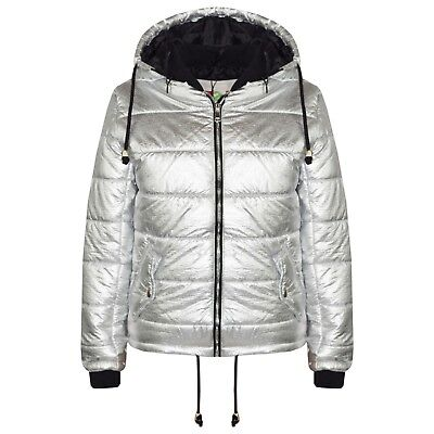 Kids Girls Jacket Bella Metallic Foil Hooded Padded Quilted Puffer Jackets 5-13Y