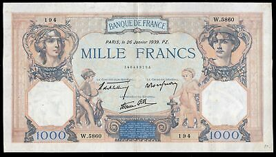 France. Banque De France. 1,000 Francs. 26-1-1939. 146499194. (Pick 90c). VF-EF.