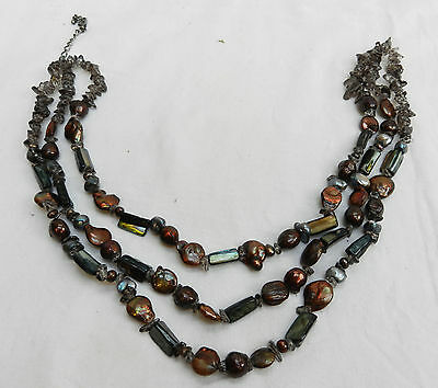 Chunky Triple Strand Three Row Faux Pearl, Mother of Pearl & Quartz Necklace