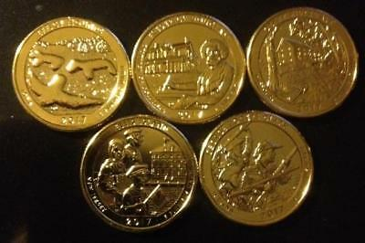 2017 P 24K Gold Layered America The Beautiful National Parks Quarter Set