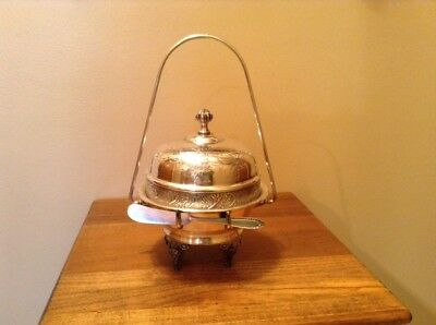 Vintage Wm Rogers silverplate footed handled dome top butter dish