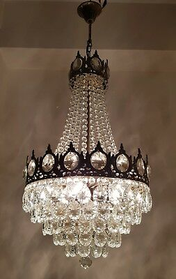 Antique Vintage Brass & RARE  Crystals LARGE French Chandelier Lighting Ceiling