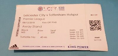 LEICESTER CITY v TOTTENHAM HOTSPUR 8th DECEMBER 2018 USED TICKET SPURS