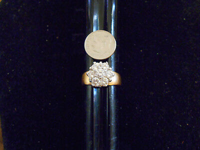 bling gold plated gp iced out wedding fashion cubic cluster ring hip hop siz 4.5