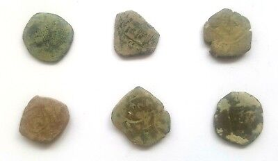 Authentic Ancient Spanish Pirate Copper Maravedis Uncleaned Cob Coins Set of 6
