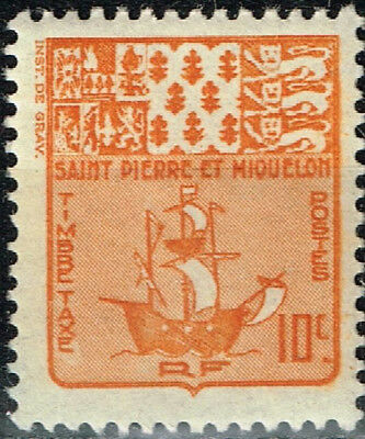 French St. Pierre and Miquelon Islands Coat of Arm Ship stamp 1939 MNH