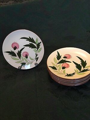 "8 6 1/4"" Stangl Pink Thistle Bread Plates Mid Century Modern"