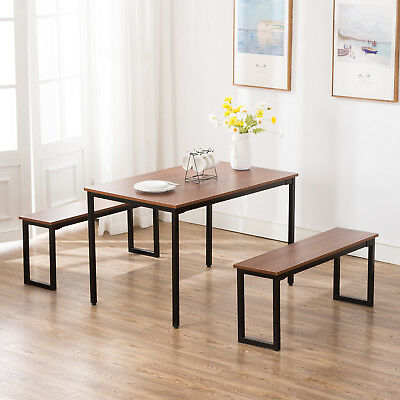 3PC WOOD DINING Table and Chairs Set Breakfast Nook Kitchen ...