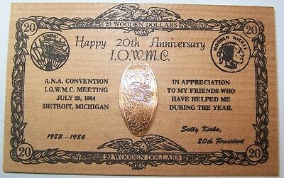 KIR-124: Elongated CENT on Wooden Card: HAPPY 20th ANNIVERSARY I.O.W.M.C.