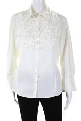 1ec34275f43 Anne Fontaine Woemns 3/4 Sleeve Ruffle Button Down Blouse White Size 46 IT/